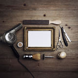 Инструменты парикмахера с пустой рамкой Стоковая Фотография