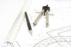 инструменты печати чертежа предпосылки Стоковые Фото