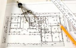 инструменты плана чертежа домашние Стоковая Фотография