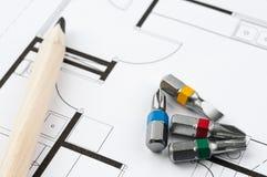 Инструменты плана строительства Стоковая Фотография RF