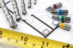 Инструменты плана строительства Стоковое фото RF