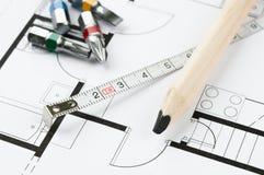 Инструменты плана строительства Стоковое Фото