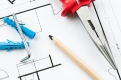 Инструменты плана строительства Стоковое Изображение