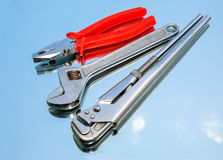 Инструменты, плоскогубцы, гаечное ключ, регулируемый ключ Стоковые Изображения
