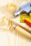 Инструменты плотника на досках Стоковые Фото