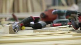 Инструменты плотника электрические сток-видео