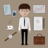 Инструменты работника офиса и дела, вещи, установленные аксессуары иллюстрация штока