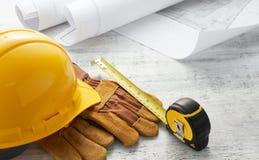 Инструменты с планом здания Стоковая Фотография