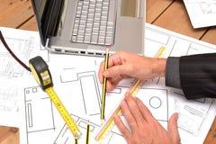 Инструменты для чертежей конструкции Стоковое Фото