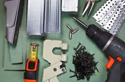 инструменты drywall установленные Стоковое Фото