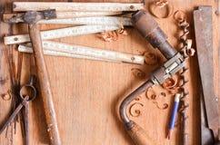 инструменты grundgy руки состава старые Стоковое фото RF