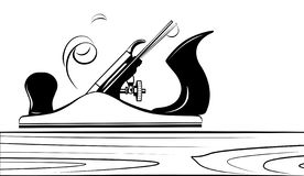 Инструмент для самолета древесины, jointer, Джек-самолета с спиральным деревянным брея вектором Иллюстрация штока