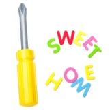 Инструмент игрушки и сладостный домашний знак Стоковые Фото