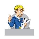 Инструмент и бумага удерживания инженера шаржа Стоковые Изображения RF