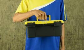 инструмент коробки предпосылки изолированный концом вверх по белизне Стоковое Изображение