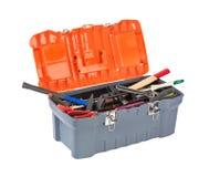 инструмент коробки предпосылки изолированный концом вверх по белизне Стоковое фото RF