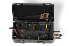 инструмент коробки предпосылки изолированный концом вверх по белизне Стоковые Изображения RF
