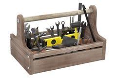 инструмент коробки предпосылки изолированный концом вверх по белизне Стоковые Фотографии RF