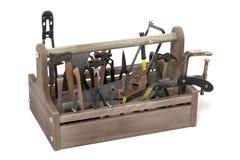 инструмент коробки предпосылки изолированный концом вверх по белизне Стоковые Фото