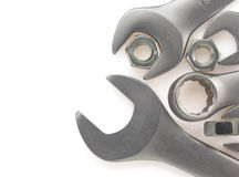 Инструмент ключа и гайки на белизне Стоковая Фотография RF