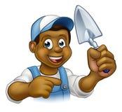 Инструмент лопаткы рабочий-строителя каменщика построителя Стоковое Изображение