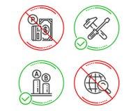 Инструмент молотка, оплата стоянки и испытание Ab набор значков Знак поиска интернета r бесплатная иллюстрация