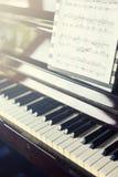 Инструмент рояля музыкальный, конец вверх клавиатуры рояля, клавиатуры рояля b Стоковое Изображение