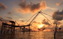 Восход солнца на инструментах рыболовства Стоковое Изображение