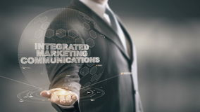 Интегрированные маркетинговые коммуникация с концепцией бизнесмена hologram иллюстрация вектора
