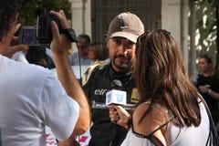 Интервью с пилотом после ралли Стоковая Фотография RF