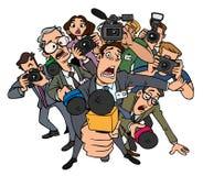 Интервью толпы журналистов иллюстрация вектора