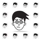 интерес на значке стороны Детальный набор лицевых значков эмоций Наградной графический дизайн Один из значков собрания для вебсай иллюстрация штока