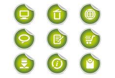 интернета 2 вебсайт зеленого икон липкий Стоковая Фотография