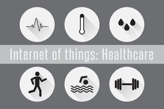 Интернет вещей, здравоохранение IoT- Комплект 6 плоских значков также вектор иллюстрации притяжки corel Стоковое фото RF