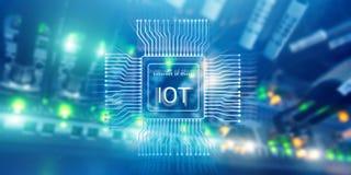 Интернет вещей IoT Большая концепция технологии вычислительной цепи облака данных стоковое изображение rf