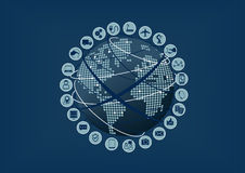 Интернет вещей (IoT) слова и значков с картой глобуса и мира Стоковое фото RF