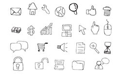 интернет иконы doodle Стоковые Изображения RF