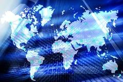 Интернет и концепция радиосвязи с картой мира на предпосылке комнаты сервера бесплатная иллюстрация