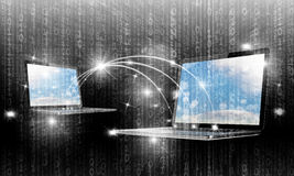 интернет принципиальной схемы цвета предпосылки голубой Стоковое фото RF