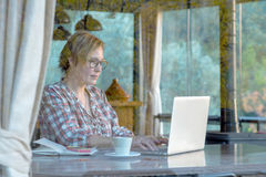 Интернет просматривать дамы на портативном компьютере в кафе Стоковое Изображение RF