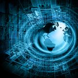 интернет самой лучшей принципиальной схемы дела гловальный Глобус, накаляя линии на технологической предпосылке Wi-Fi, лучи, симв Стоковые Изображения