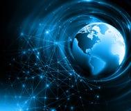 интернет самой лучшей принципиальной схемы дела гловальный Глобус, накаляя линии на технологической предпосылке Wi-Fi, лучи, симв Стоковое фото RF