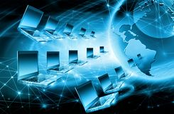 интернет самой лучшей принципиальной схемы дела гловальный Глобус, накаляя линии на технологической предпосылке Wi-Fi, лучи, симв Стоковые Изображения RF
