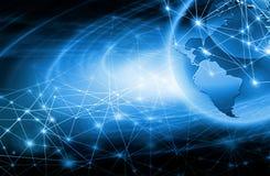 интернет самой лучшей принципиальной схемы дела гловальный Глобус, накаляя линии на технологической предпосылке Wi-Fi, лучи, симв Стоковые Фото