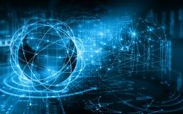 интернет самой лучшей принципиальной схемы дела гловальный Глобус, накаляя линии на технологической предпосылке Wi-Fi, лучи, симв Стоковое Изображение RF