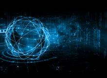 интернет самой лучшей принципиальной схемы дела гловальный Глобус, накаляя линии на технологической предпосылке Wi-Fi, лучи, симв Стоковая Фотография RF
