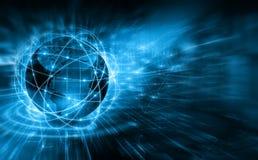 интернет самой лучшей принципиальной схемы дела гловальный Глобус, накаляя линии на технологической предпосылке Wi-Fi, лучи, симв Стоковое Фото