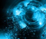 интернет самой лучшей принципиальной схемы дела гловальный предпосылка технологическая Излучает символы Wi-Fi, интернета, телевид Стоковые Фото