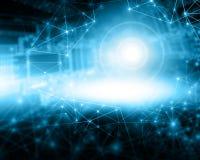 интернет самой лучшей принципиальной схемы дела гловальный предпосылка технологическая Излучает символы Wi-Fi, интернета, телевид Стоковая Фотография