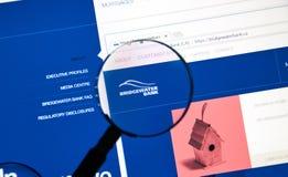 Интернет-страница банка Bridgewater канадца Стоковые Изображения